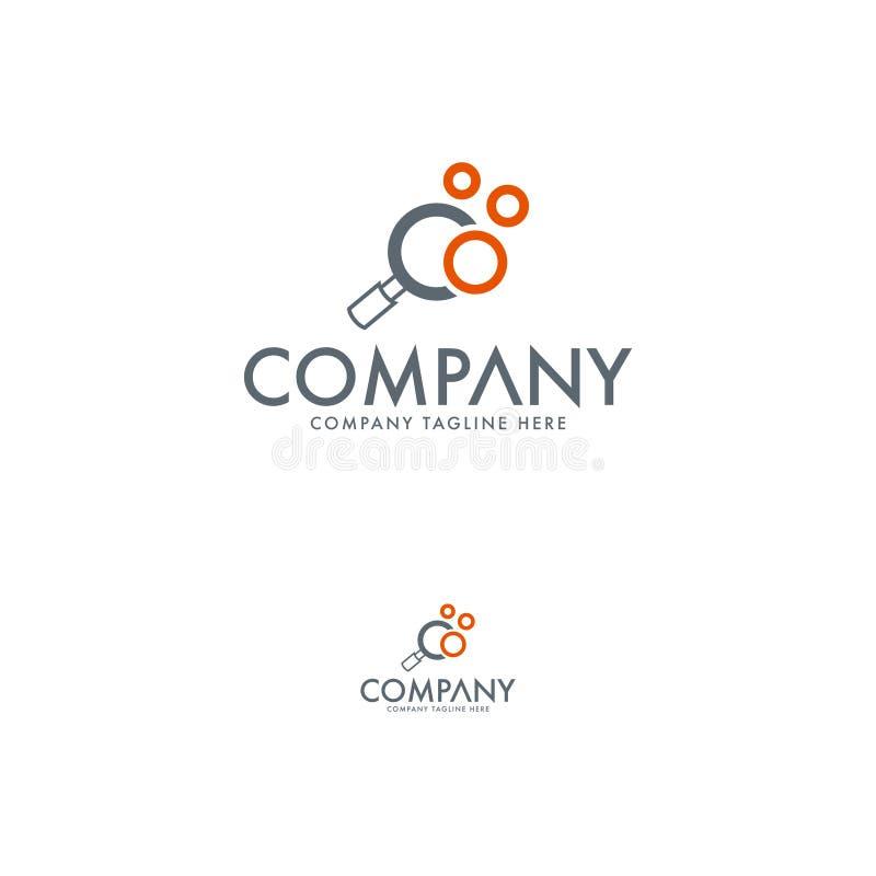 Calibre créatif de conception de logo de loupe et de recherche illustration de vecteur