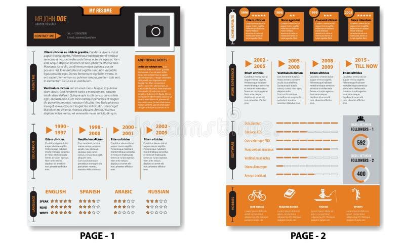 Calibre créatif de résumé de cv de minimaliste de vecteur avec deux pages illustration libre de droits