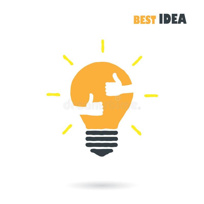 Calibre créatif de vecteur de conception de logo d'ampoule avec la petite main illustration libre de droits