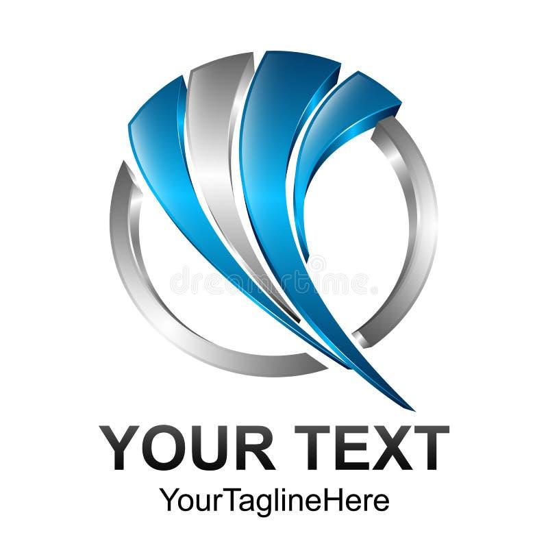 Calibre créatif e de conception de logo de vecteur de bruissement de cercle du résumé 3d illustration de vecteur
