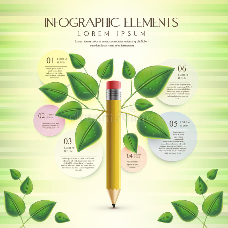 Calibre créatif et d'écologie avec l'élément de crayon illustration libre de droits