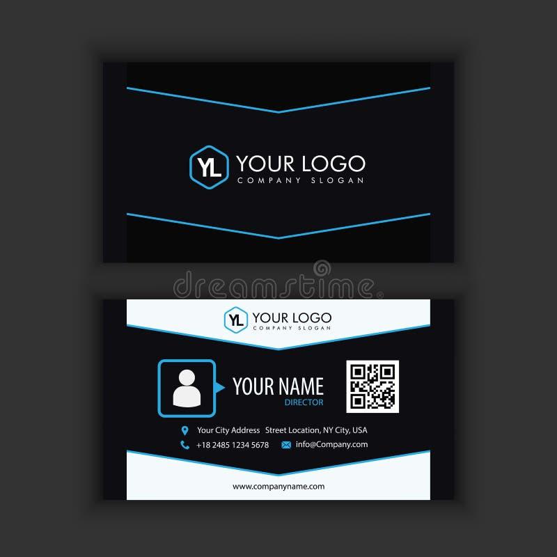 Calibre créatif et propre moderne de carte de visite professionnelle de visite avec l'obscurité bleue illustration libre de droits
