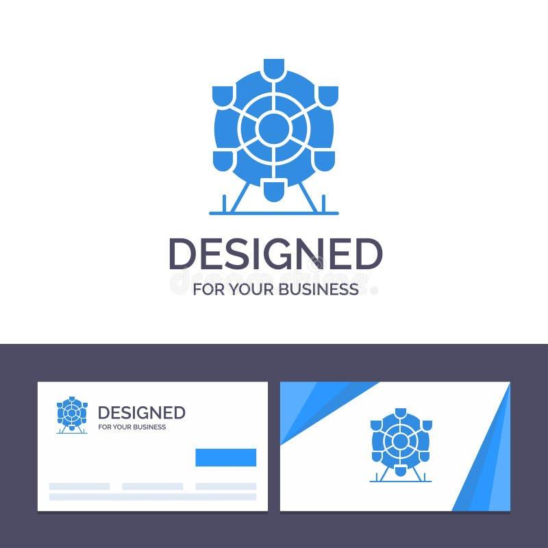 Calibre créatif Ferris, parc, roue, illustration de carte de visite professionnelle et de logo de visite de vecteur du Canada illustration libre de droits