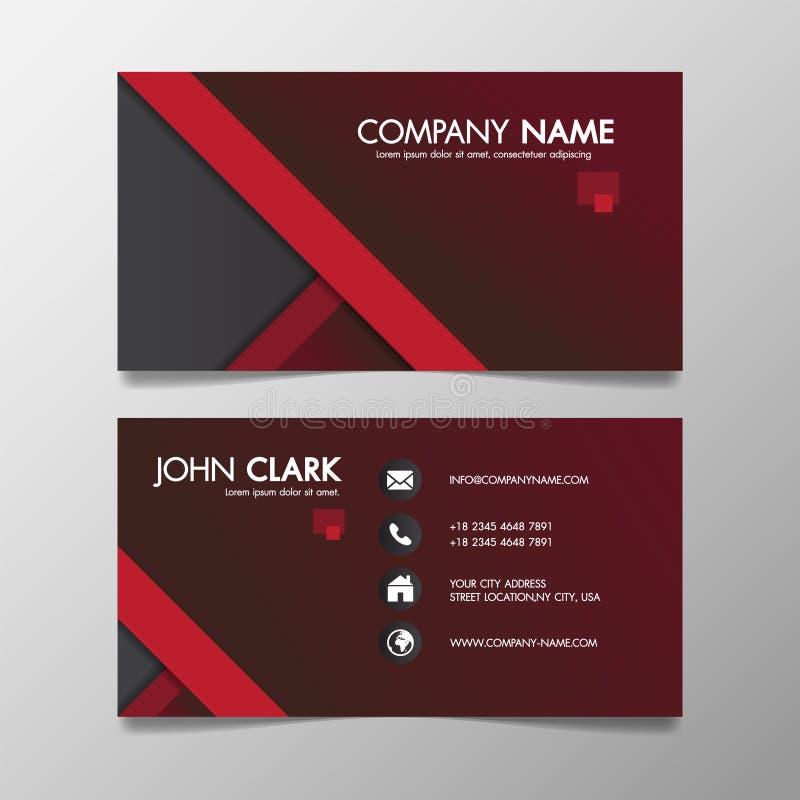 Calibre créatif moderne rouge et noir d'affaires modelé et carte nominative, concept minimal d'icône de conception propre simple  illustration stock