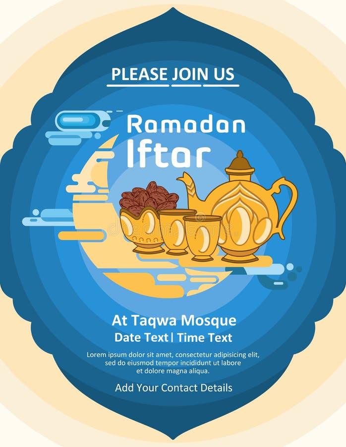 Calibre cr?atif pour les invitations iftar de Ramadan avec un fond bleu dans une conception plate illustration de vecteur