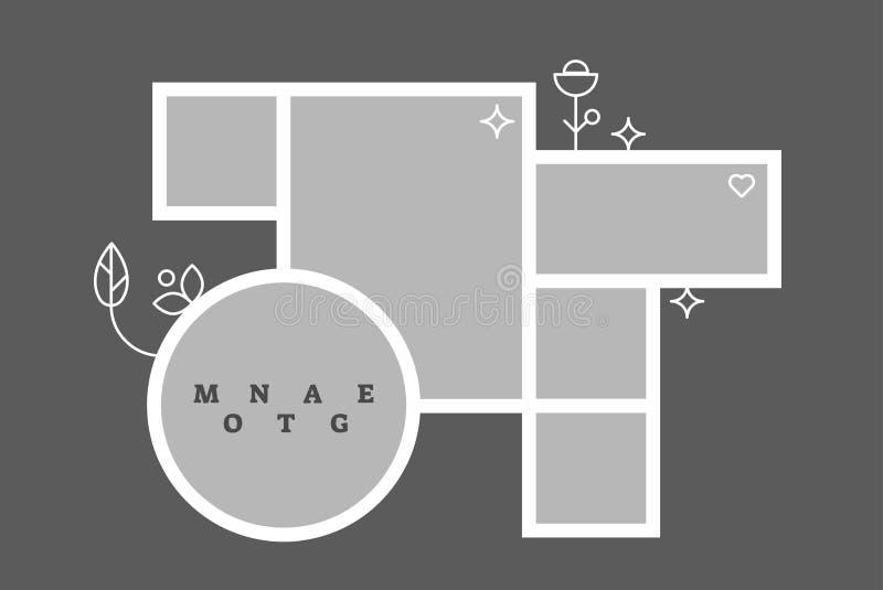 Calibre décoratif de blanc de composition en cadre de photo de collage de montage, conception de vecteur illustration stock