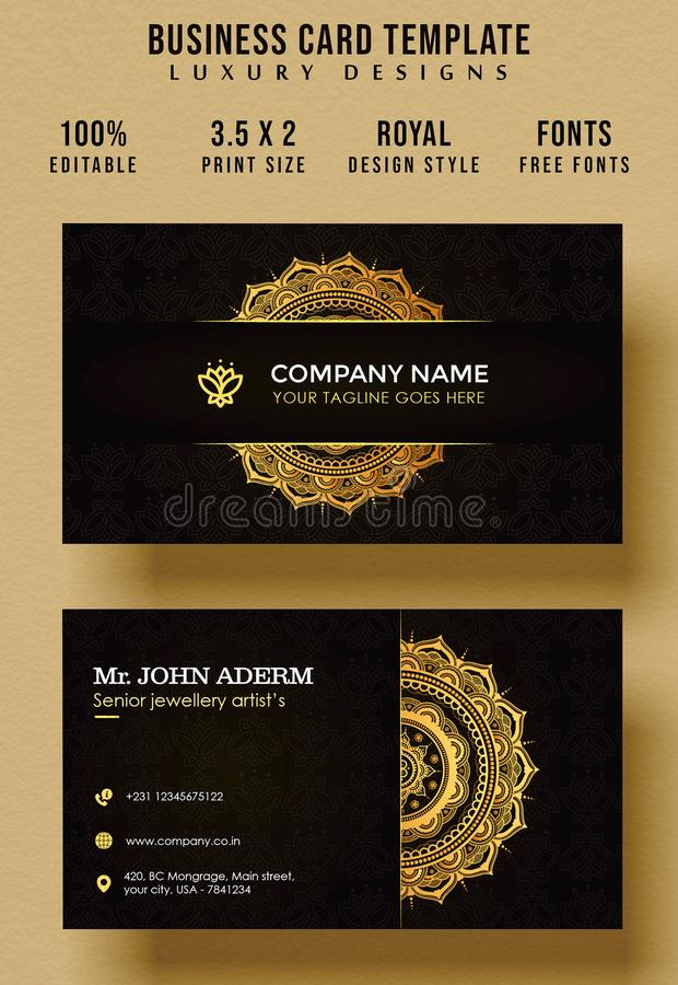 Calibre décoratif de carte de visite professionnelle de visite de cru avec le mandala d'or illustration de vecteur