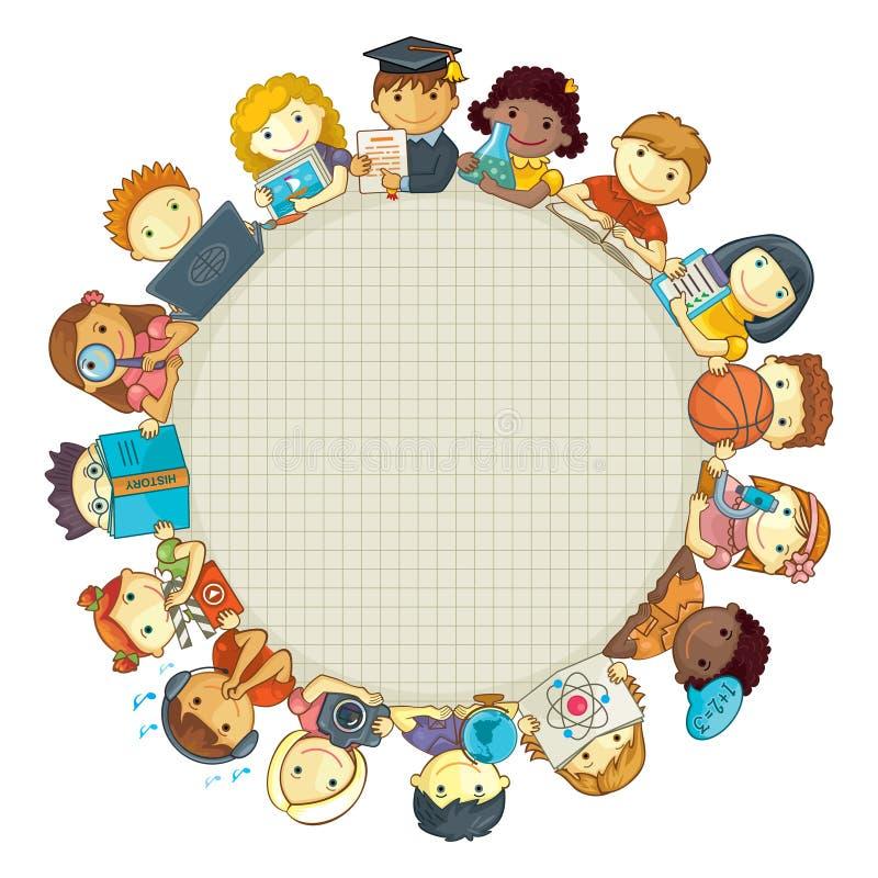 Calibre d'école avec des enfants Vue pour le texte illustration de vecteur