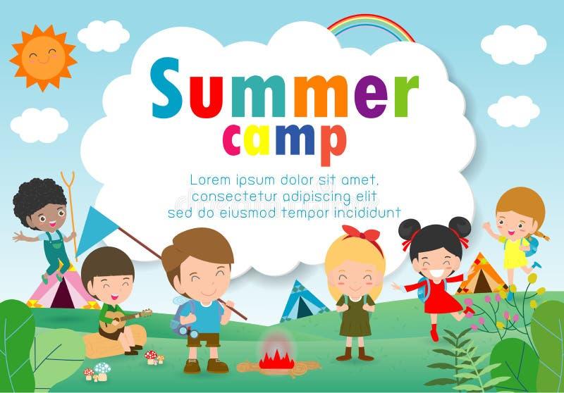 Calibre d'éducation de colonie de vacances d'enfants pour la brochure de publicité, enfants faisant des activités sur le camping, illustration libre de droits