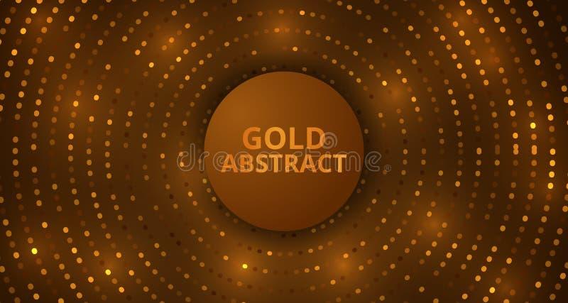 Calibre d'or abstrait de fond d'ornement d'effet de lueur de luxe de détail de scintillement de cercle illustration libre de droits