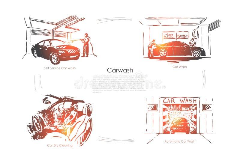 Calibre d'affaires d'entretien d'automobile, de soin de v?hicule, automatique et sec de transport de nettoyage de banni?re illustration de vecteur