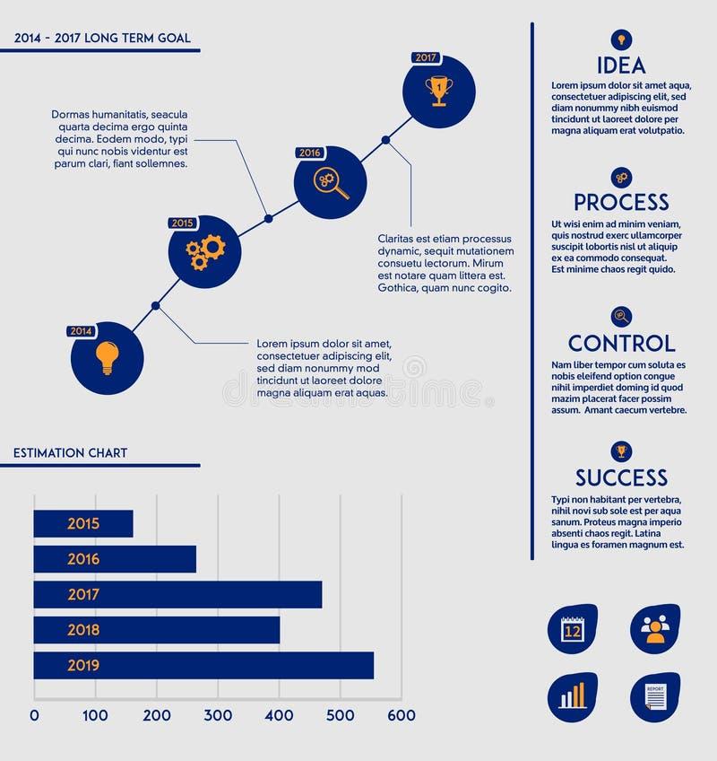 Calibre d'affaires - futurs diagramme + diagramme de but illustration libre de droits