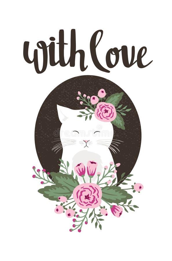 Calibre d'affiche - avec amour Le mariage, mariage, font gagner la date, Saint-Valentin illustration stock