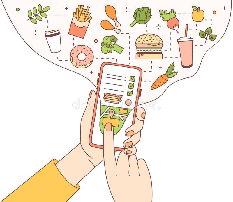 Calibre d'affiche avec des mains tenant le téléphone avec l'application mobile de service de distribution de nourriture ou le sit illustration libre de droits