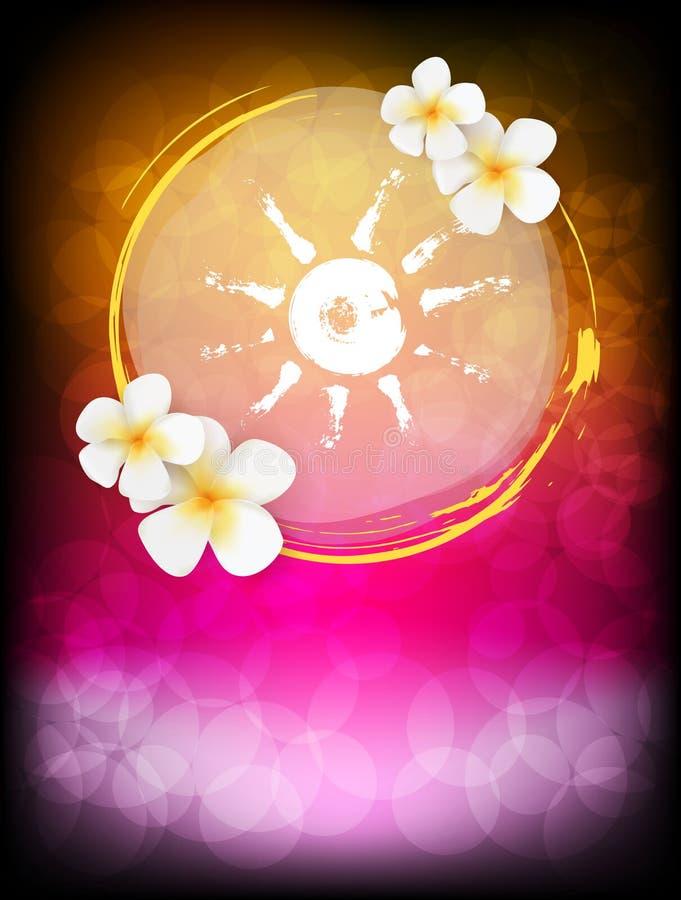 Calibre d'affiche avec les fleurs et le soleil illustration libre de droits