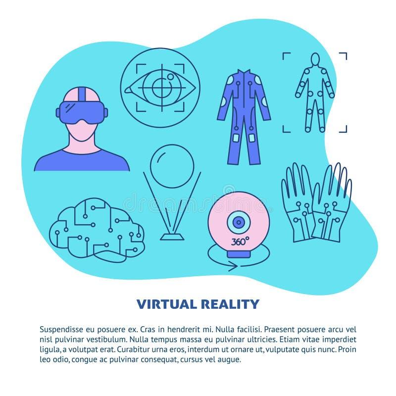 Calibre d'affiche de concept de réalité virtuelle dans la ligne style illustration libre de droits