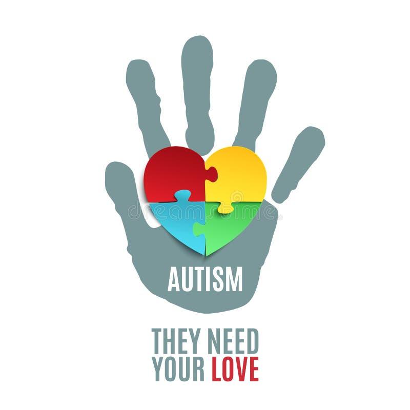 Calibre d'affiche de conscience d'autisme illustration stock