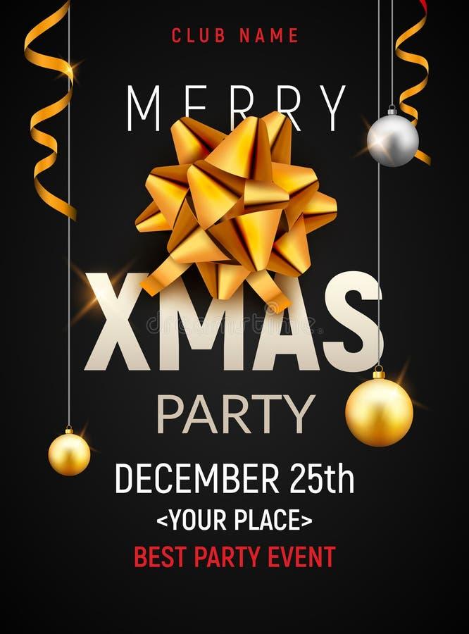 Calibre d'affiche de fête de Noël Boules d'argent d'or de Noël et bannière d'or d'invitation de décoration d'insecte d'arc illustration stock