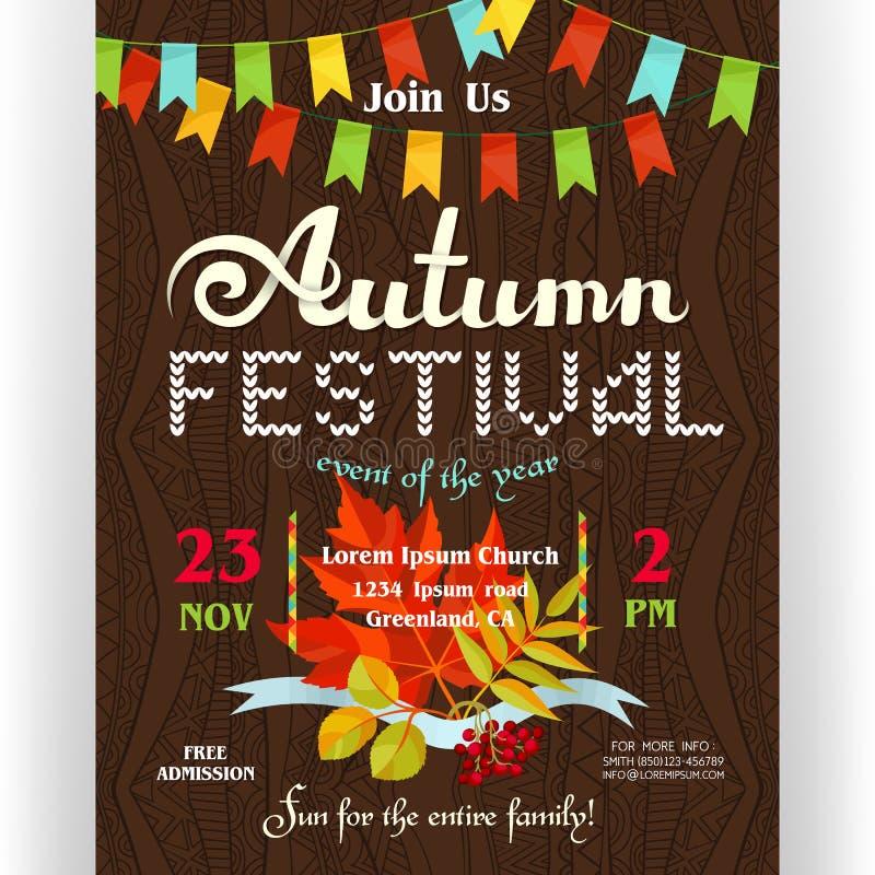 Calibre d'affiche de festival d'automne illustration stock