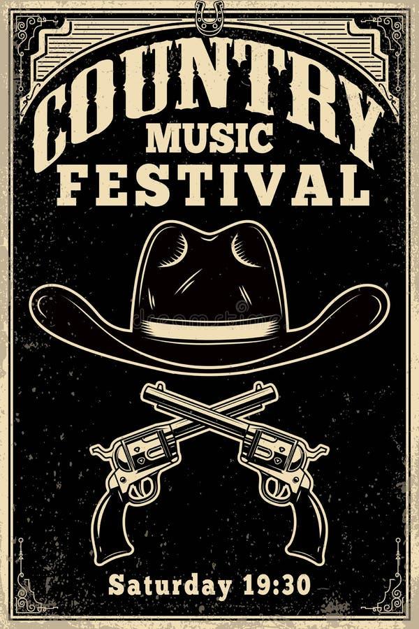 Calibre d'affiche de festival de musique country Chapeau de cowboy avec les revolvers croisés Thème occidental sauvage Élément de illustration libre de droits