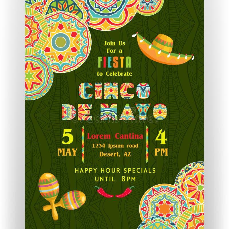 Calibre d'affiche de partie de Cinco De Mayo illustration stock