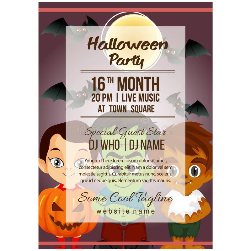 Calibre d'affiche de partie de Halloween avec le costume de potiron illustration stock