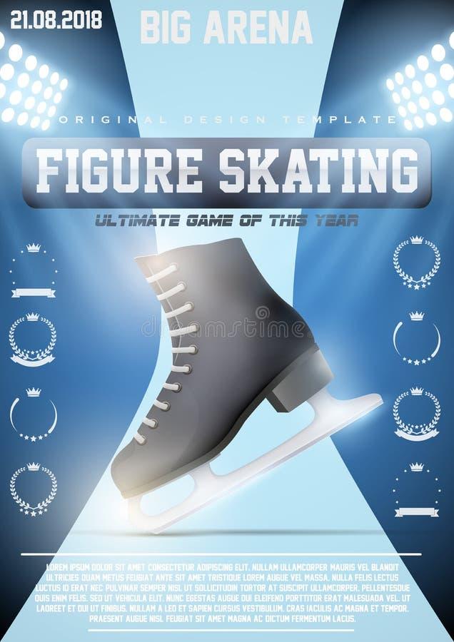 Calibre d'affiche de patinage artistique de glace illustration stock