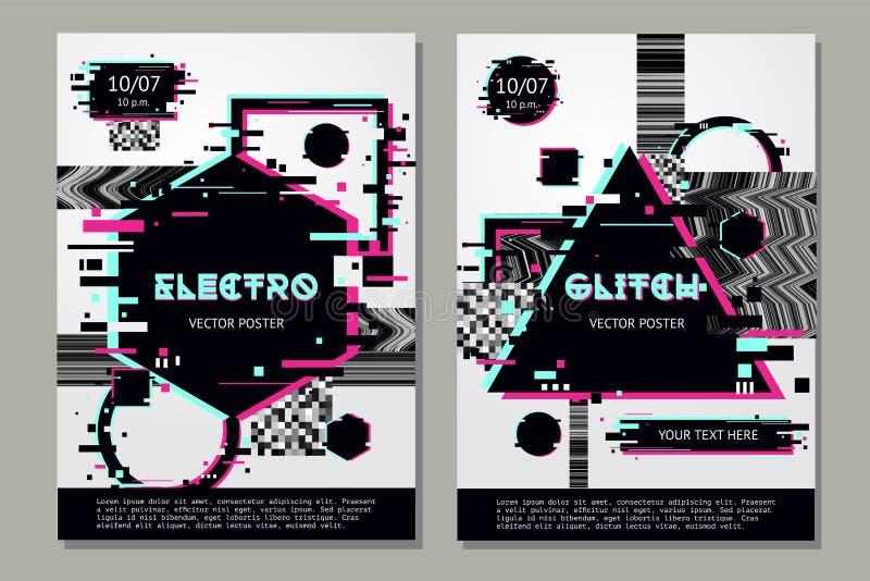 Calibre d'affiche de problème avec des formes abstraites Fond de festival de musique avec l'effet glitchy Insecte électronique de illustration stock