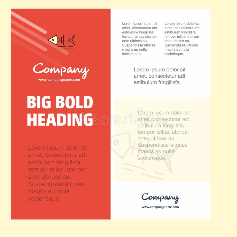 Calibre d'affiche de société commerciale de crâne de poissons avec l'endroit pour le texte et les images Fond de vecteur illustration libre de droits