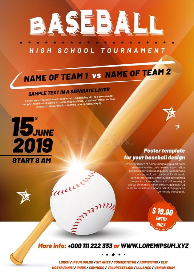 Calibre d'affiche de tournoi de base-ball avec la boule et la batte illustration de vecteur