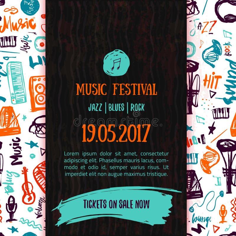 Calibre d'affiche de vecteur de concert de musique Peut être employé pour la promotion imprimable avec des articles de lettrage e illustration de vecteur