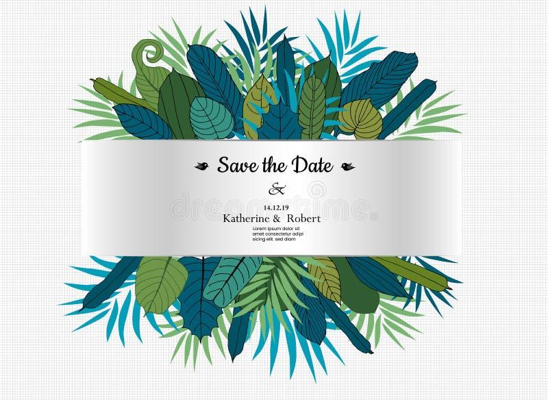 Calibre d'affiche de vente d'été de diverses feuilles exotiques avec la bannière horizontale sur le fond blanc Illustration ENV d illustration libre de droits