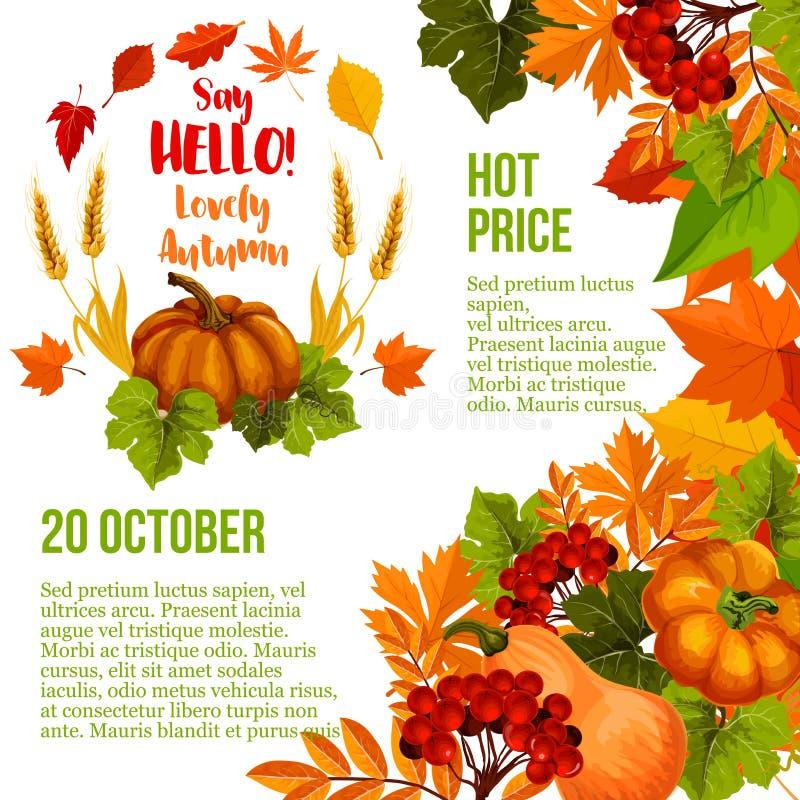 Calibre d'affiche de vente de saison d'automne avec la feuille de chute illustration libre de droits