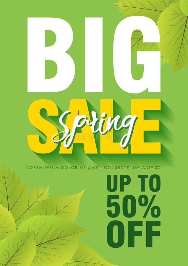 Calibre d'affiche de vente de ressort avec les feuilles et le grand texte de vente à l'arrière-plan vert Vecteur illustration libre de droits