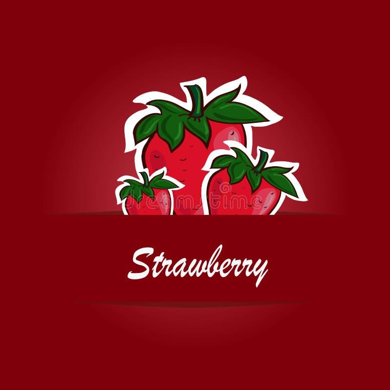 Calibre d'affiche pour la ferme de fraise Conception de label de fruit illustration libre de droits