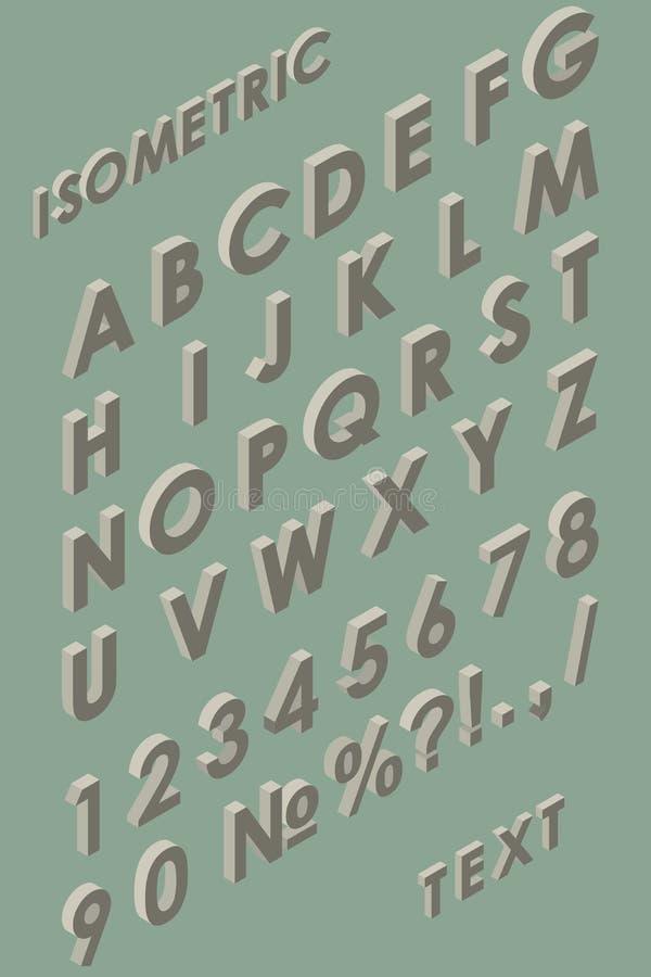 Calibre d'alphabet coloré par vintage isométrique illustration de vecteur