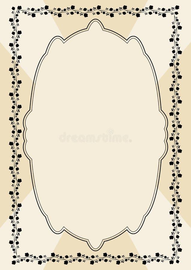 Calibre d'annonce de vecteur dans le style de victorian de vintage Vieux papier beige avec le cadre floral fin Endroit pour propr illustration stock