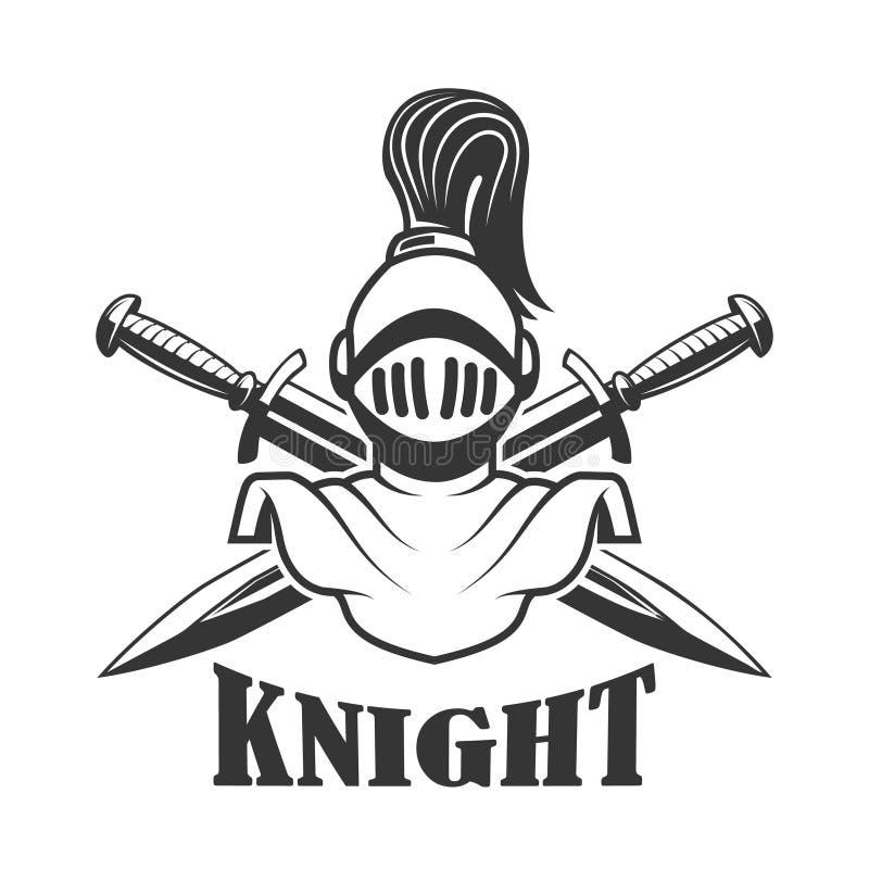 Calibre d'emblème avec le casque médiéval de chevalier Concevez l'élément pour le logo, label, signe illustration stock