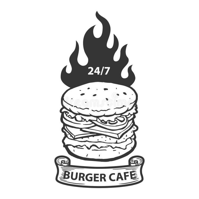 Calibre d'emblème de café d'hamburger Illustration d'hamburger avec le feu Concevez l'élément pour le logo, label, emblème, signe illustration libre de droits