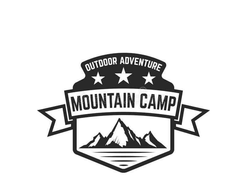 Calibre d'emblème de camp de montagne Concevez l'élément pour le logo, label, emblème, signe illustration de vecteur