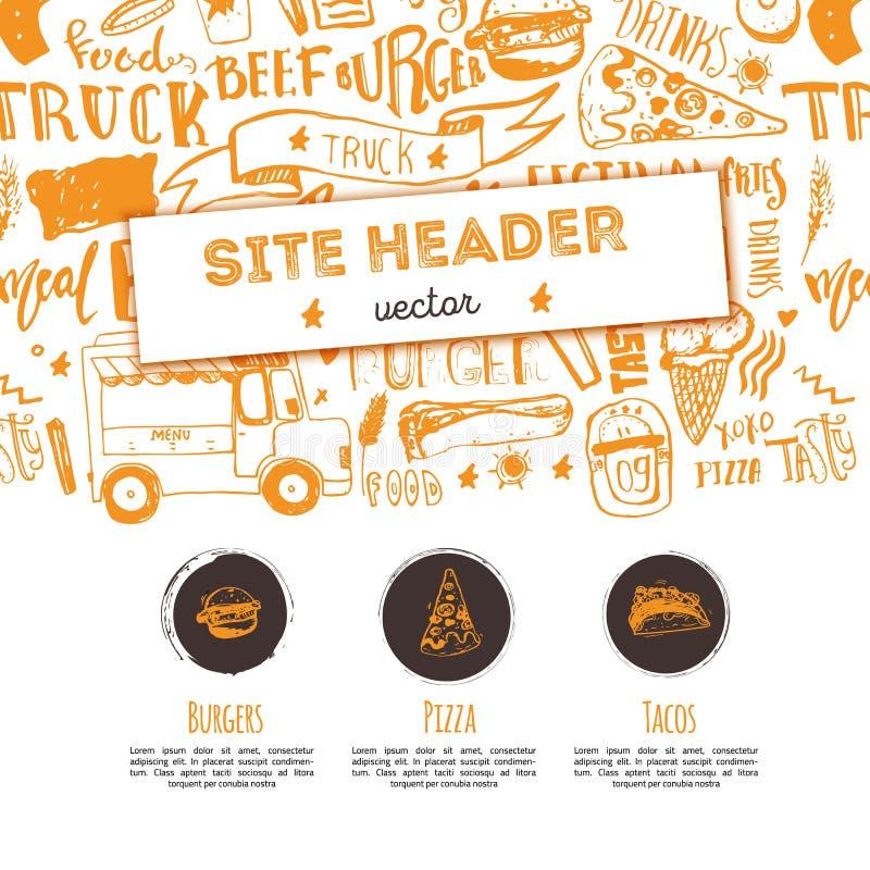 Calibre d'en-tête de site de vecteur de restaurant de nourriture industrielle Conception de promotion de festival avec le lettrag illustration libre de droits