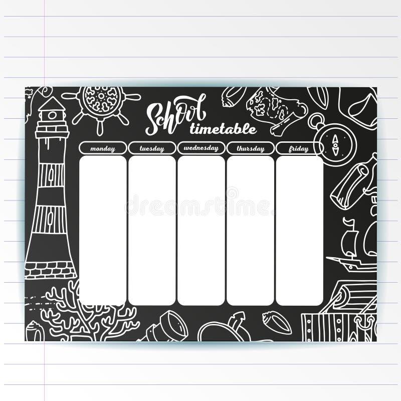 Calibre d'horaire d'école sur le panneau de craie avec des symboles écrits par main des textes de craie et de mer d'aventure Shed illustration stock