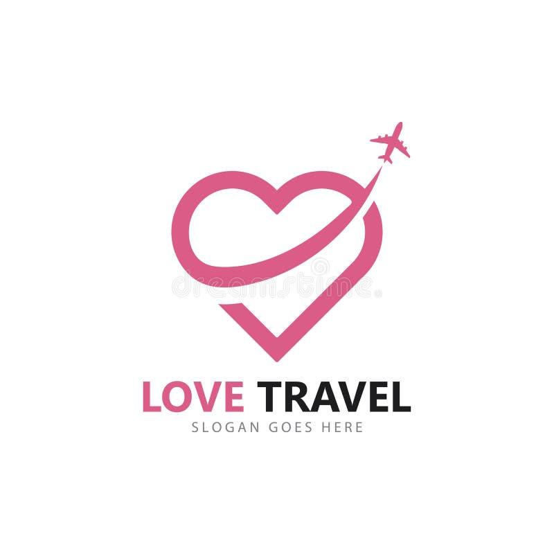 Calibre d'icône de vecteur de logo de voyage d'amour illustration stock