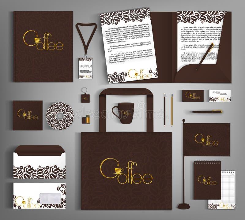 Calibre d'identité d'entreprise avec les grains et le lettrage d'or de café photo stock