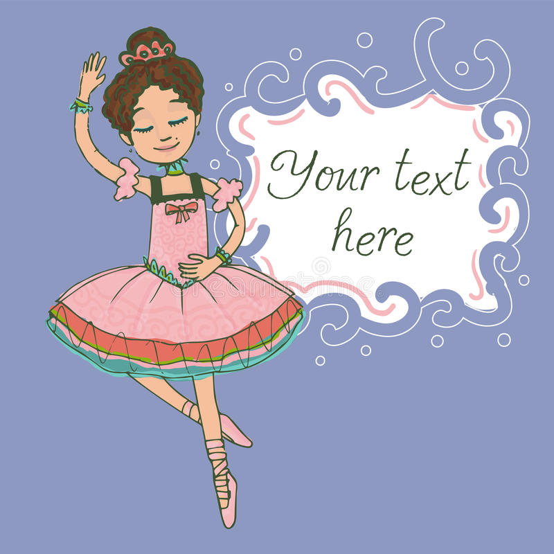 Calibre d'illustration avec le texte et la belle danse de fille de ballerine de brune illustration de vecteur