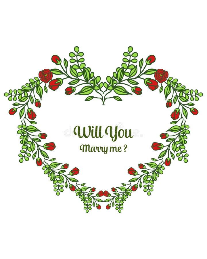 Calibre d'illustration de vecteur vous m'?pouserez avec le fllower fleuri de cadre rouge et laissez vert illustration stock
