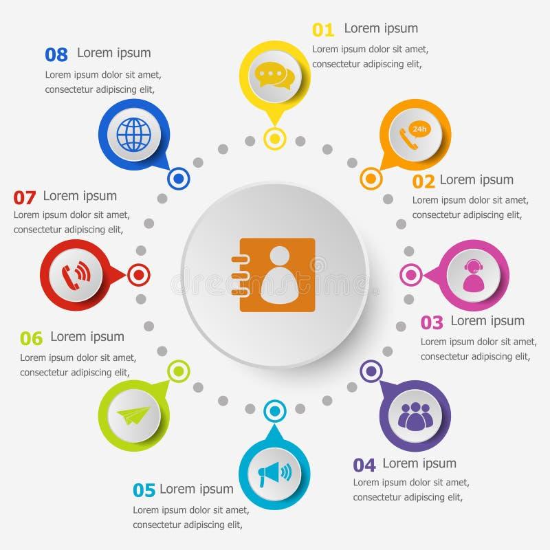 Calibre d'Infographic avec des icônes de contactez-nous illustration de vecteur