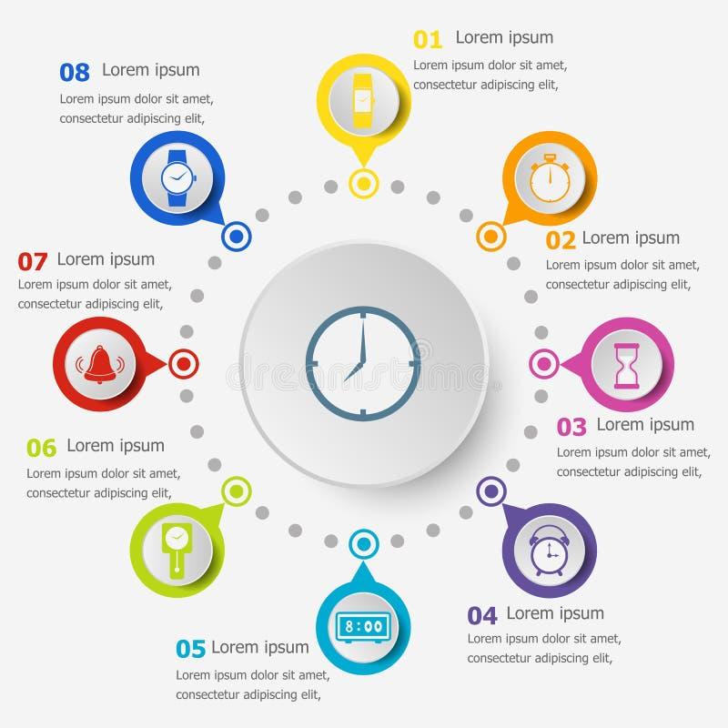 Calibre d'Infographic avec des icônes de temps illustration stock