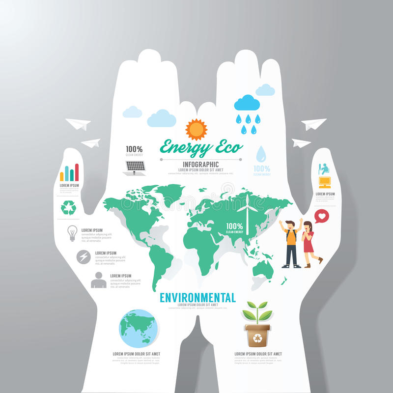 Calibre d'Infographic avec la bannière de papier de main Vecteur de concept d'Eco illustration de vecteur