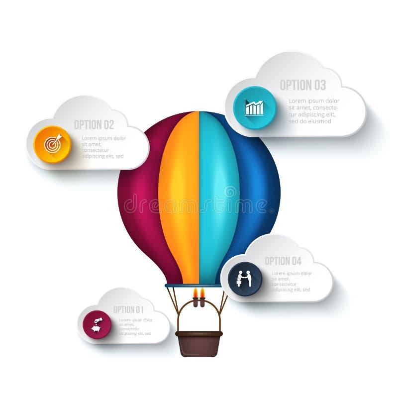 Calibre d'Infographic avec le ballon à air illustration de vecteur